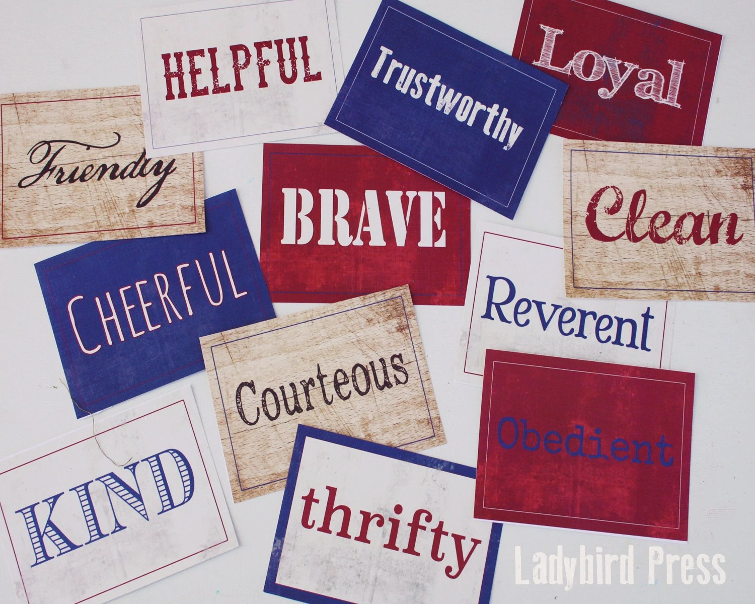 Printable Scout Law Name Cards Boy Scout Law Pack Meeting