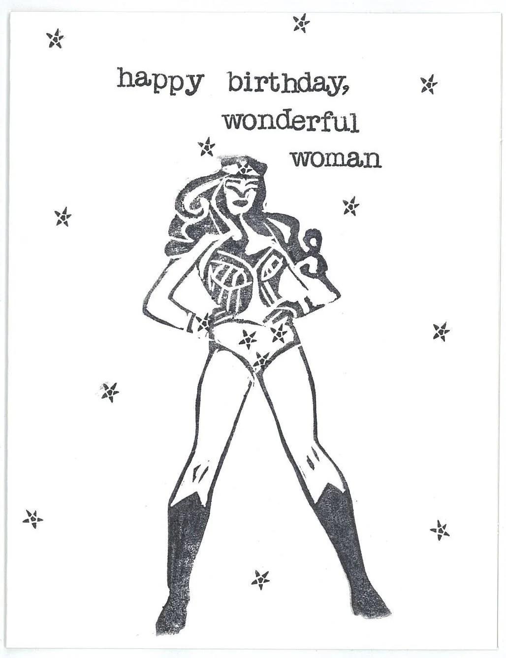 Wonder Woman Happy Birthday Card
