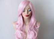 pink hair wig. pastel light