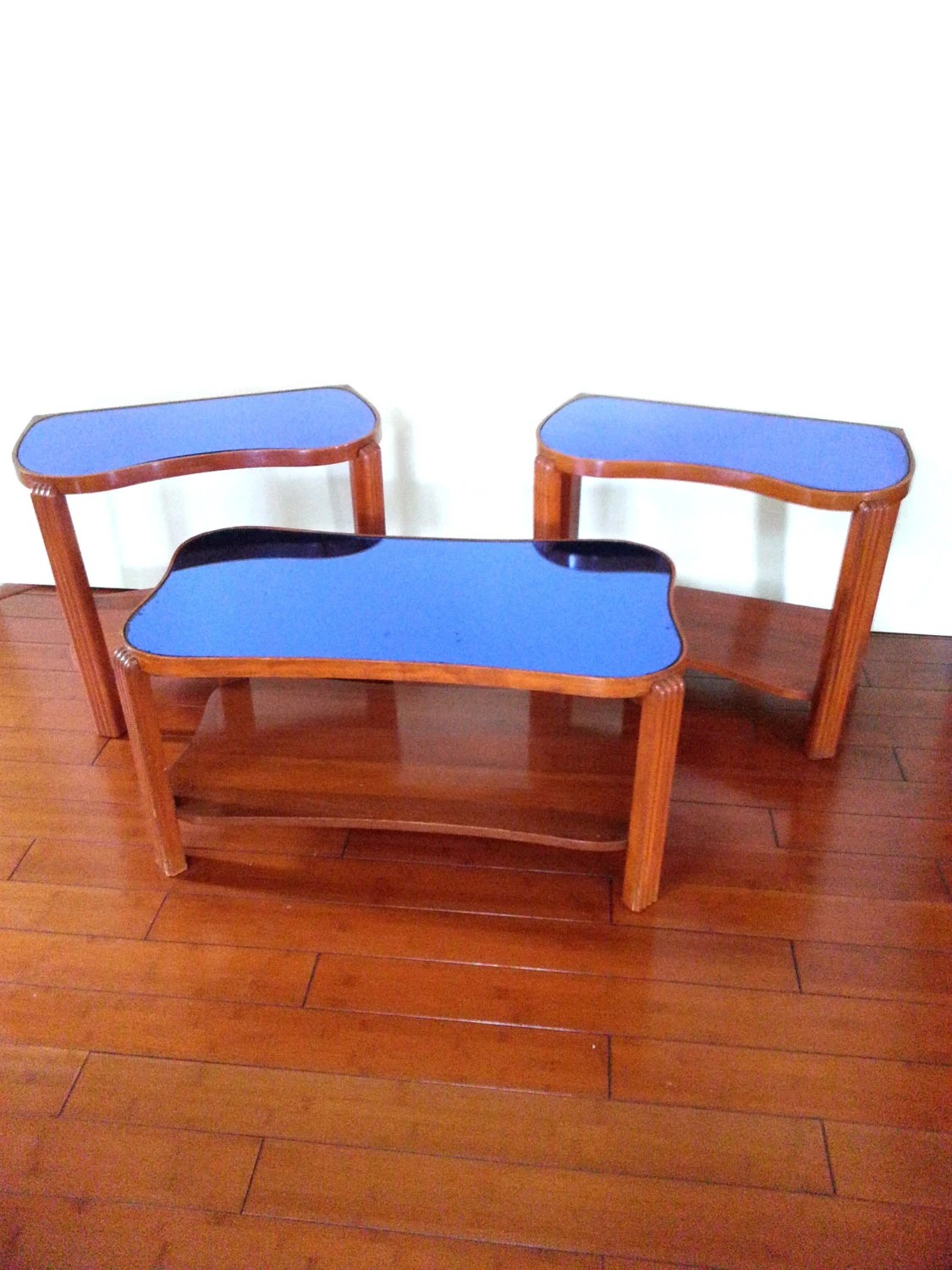 adrian pearsall rocking chair easy christmas covers 3 piece coffee table set vintage art deco 1940's blue
