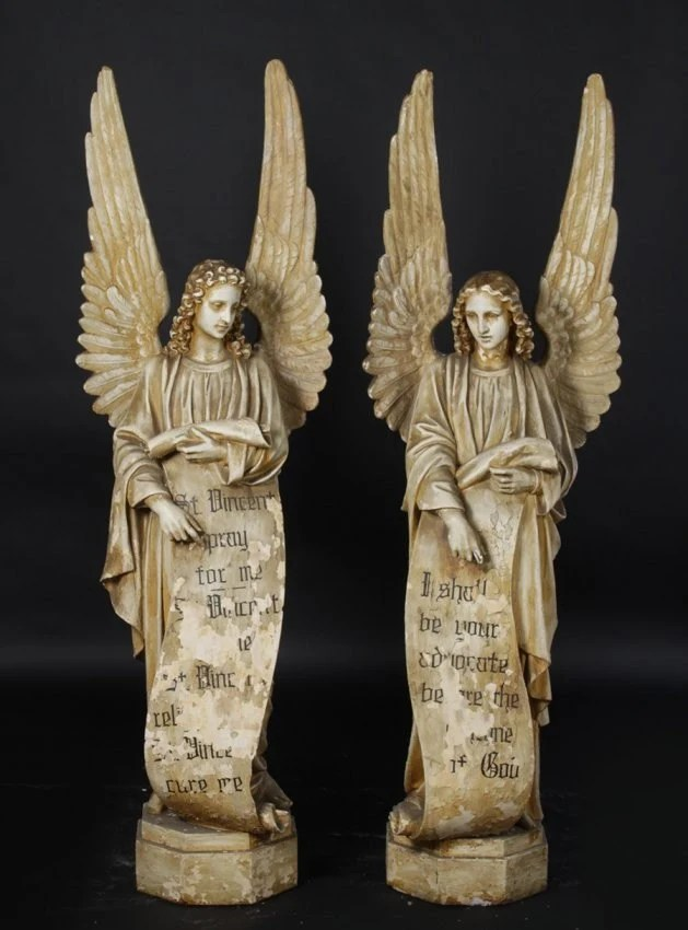 Vintage Pair Of Large Winged Angels Statues 55 Tall