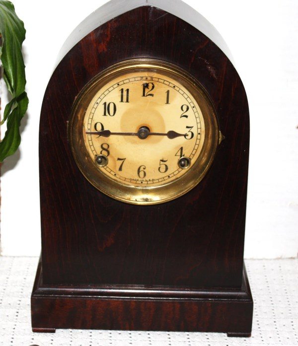 Antique Gothic Style Clock Mahogany Case Marked In Usa