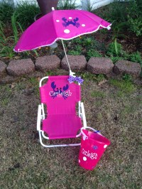 Personalized Kids Beach Chair With Umbrella and Matching