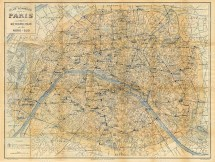 Paris Map Vintage City Of 1928 France