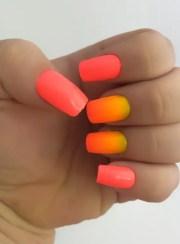 ombre fake nails bright nail polish