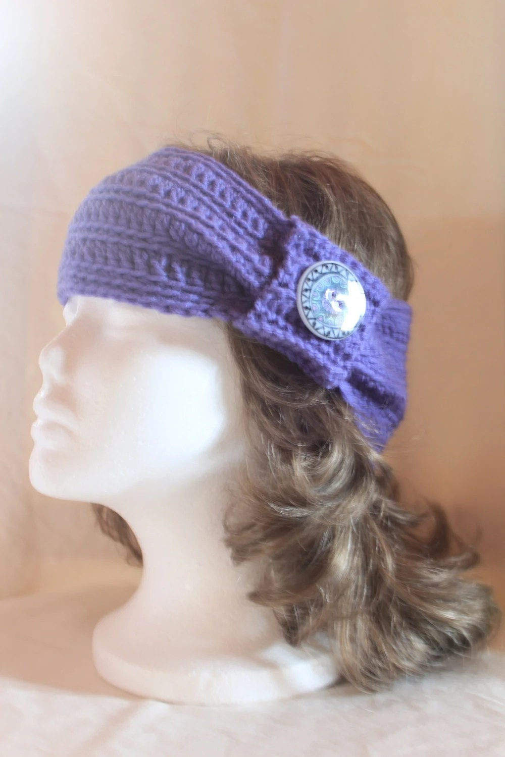 Items similar to ON SALE Ear Warmer / Headband (Steel Grey with Icy Blue Buttons) on Etsy