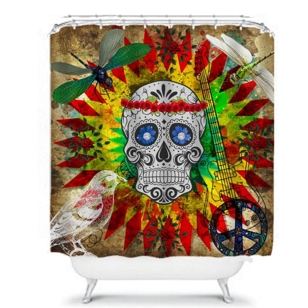 Sugar Skull Shower Curtain Grunge Rocking by FolkandFunky on Etsy