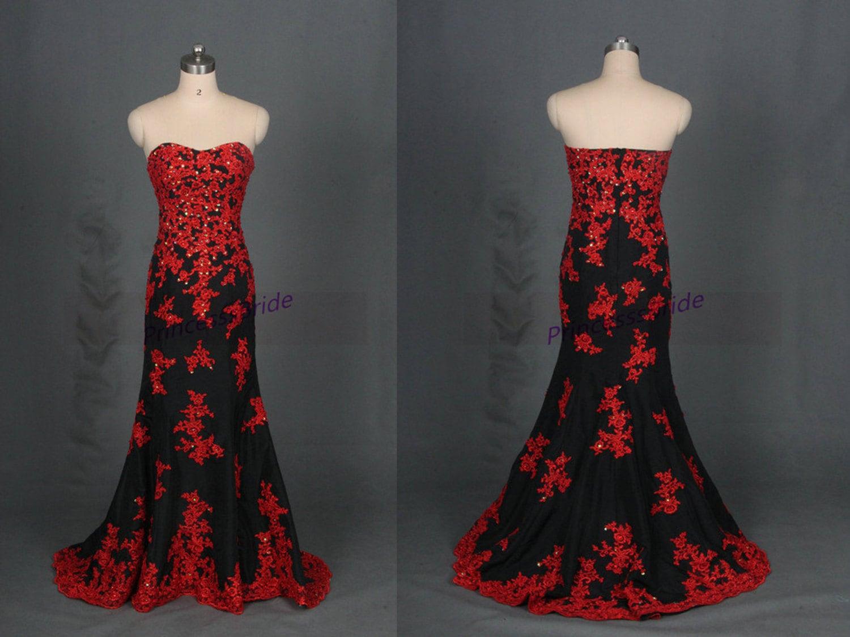 2016 Black Taffeta Wedding Dresses With Red Applique Lace