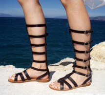 Leather Knee High Gladiator Sandals