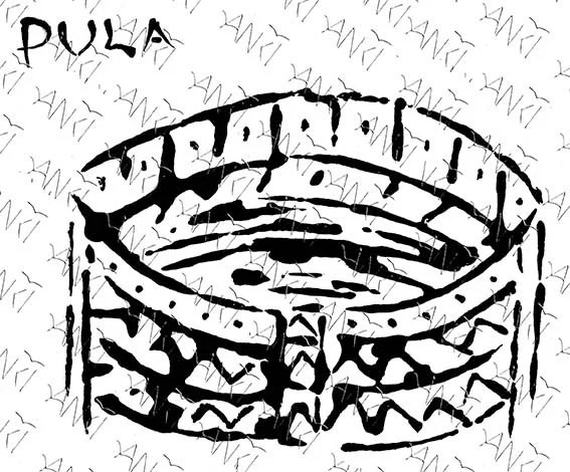 Digital download art the Arena of Pula. Printable graphic