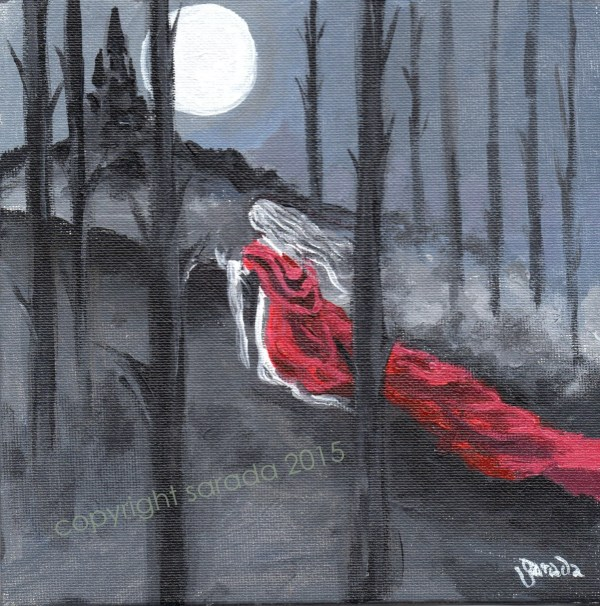 Gothic Horror Vampire Painting Full Moon Forest Long Red
