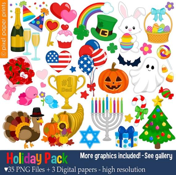 holiday pack clip art set