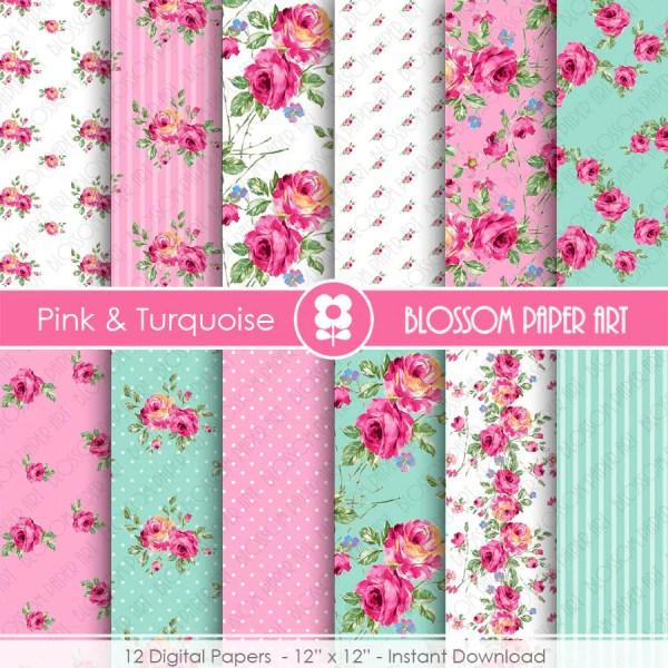 Pink Floral Papers Light Blue Paper Pack Digital