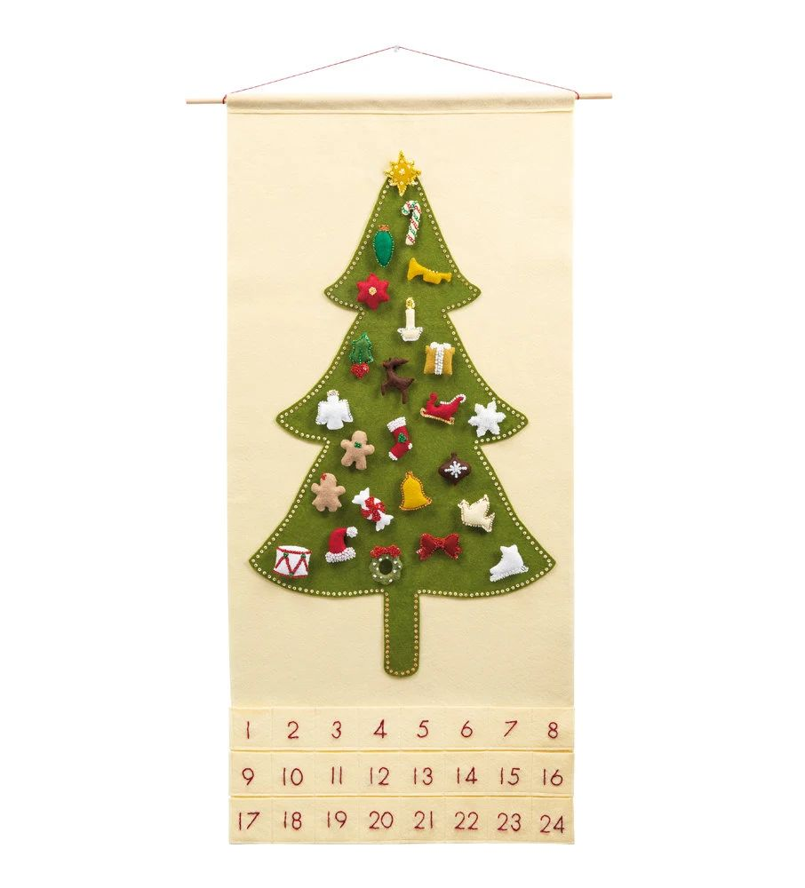 advent calendar tree with ornaments
