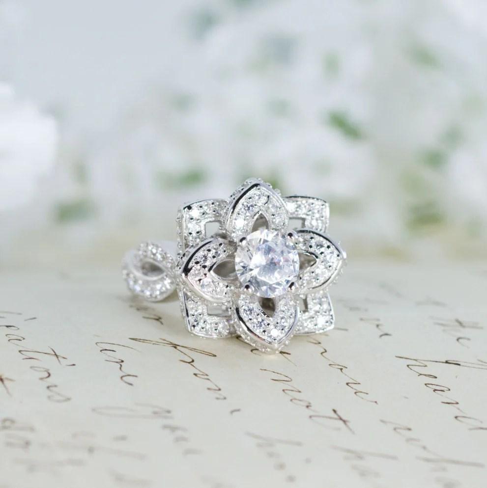 Lotus Flower Ring Lotus Engagement Ring Wedding By Mocharings