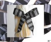 hair ribbon-black & gray striped