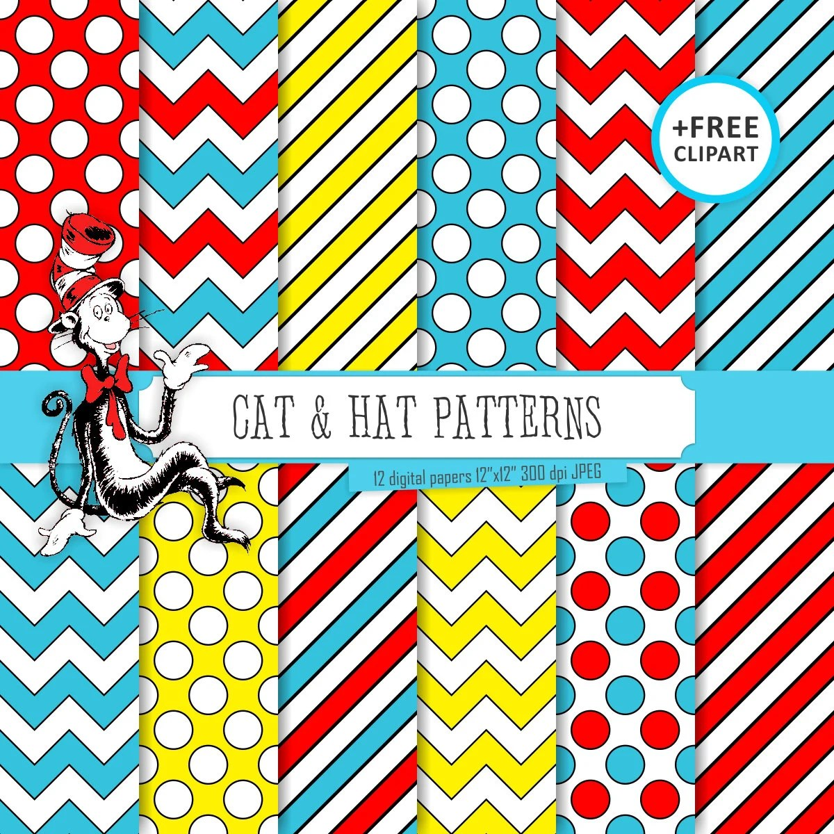 Buy 2 Get 1 Free Digital Paper Cat Amp Hat Patterns Blue Red