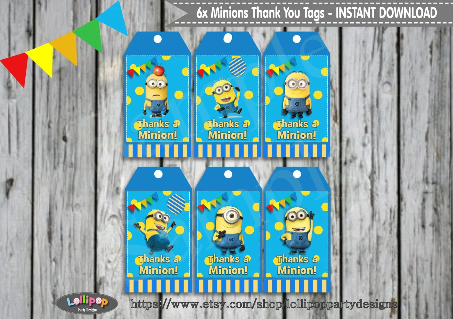 6x Minions Thank You Tags Printable Favour By Lollipoppartydesigns