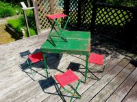 Coleman folding table and four camp chairs vintage camping