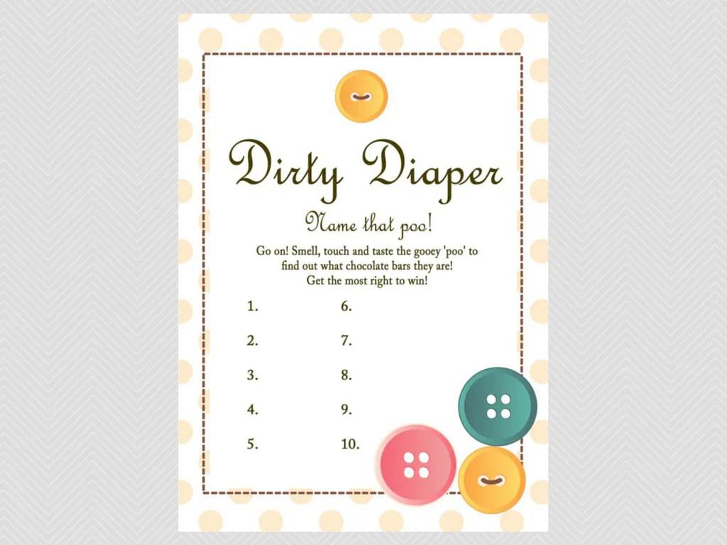Dirty Diaper Game Name That Poo Game Chocolate Bar Game
