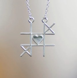 Tic Tac Toe Necklace, Mother's Day Gift, Romantic Jewelry Heart Pendant, Gaming Jewelry, Game #1 by Prairieoats