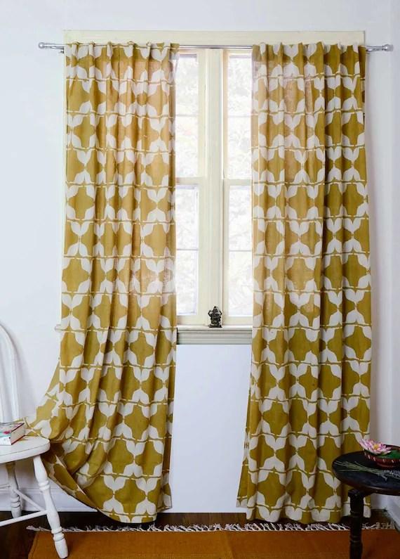 Yellow Curtains Mustard Curtain Window Treatment Block Print