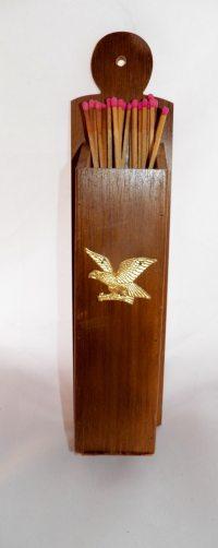 Vintage Wooden Eagle Fireplace Match Holder Wall Mount Match