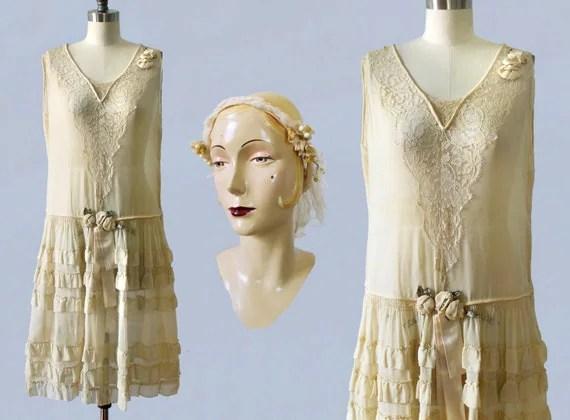 1920s Wedding Dress And Wax Flower Crown / 20s Flapper Chiffon