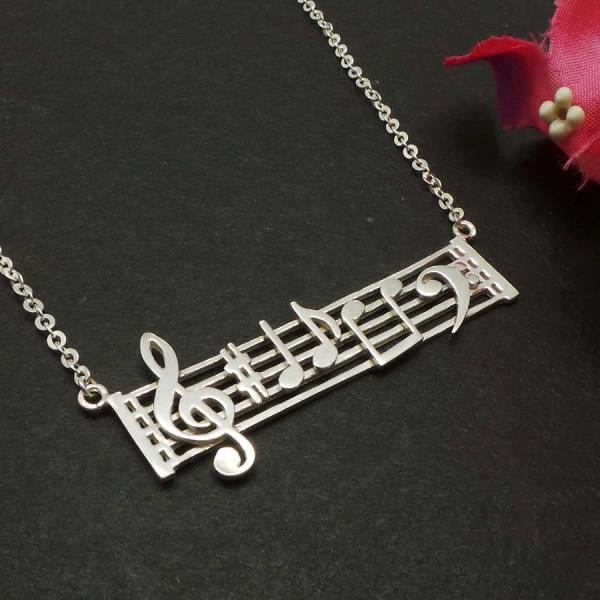 Sterling Silver Music Note Necklace Inspired Jewelry