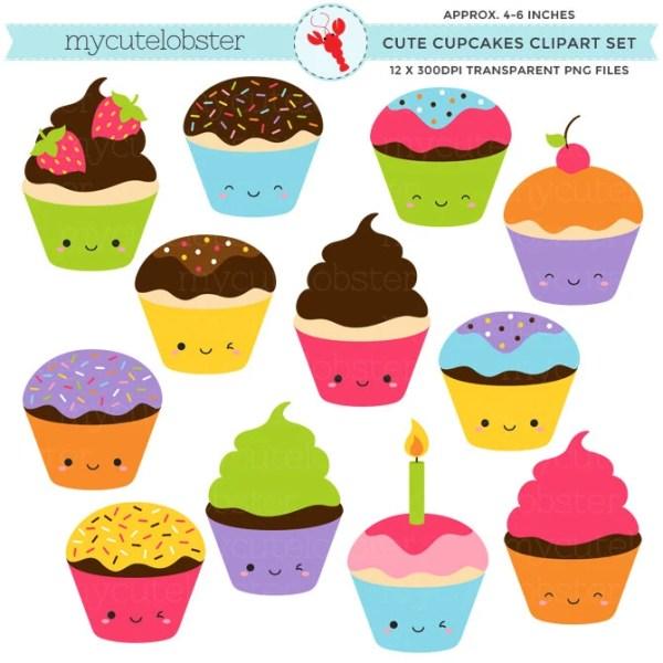 cute cupcakes clipart set clip