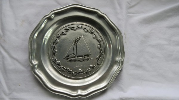 Rwp Wilton Columbia Pa Solid Pewter Sailboat Plate Sailing