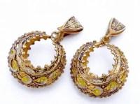 Vintage Spain Spanish Gold Plate Silver Gilt Damascene Style