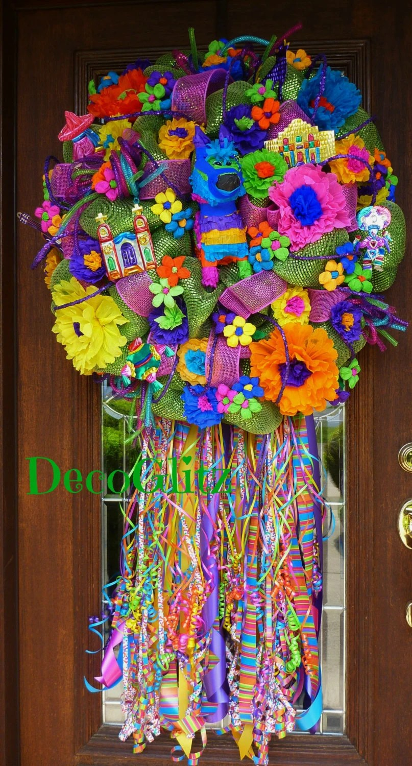 Items similar to Deco Mesh GREEN FIESTA WREATH on Etsy