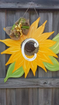 Custom Painted Sunflower Door Hanger