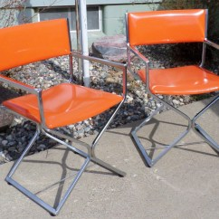Shelby Williams Chairs Hunting For Big Men Vintage Directors Chrome And Orange Vinyl Made