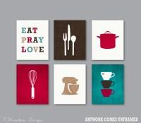 Kitchen Art Print Set Kitchen Decor Eat Pray Love Wall Art