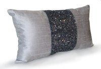 Grey beaded Lumbar Pillows Grey Silk Metallic Pillow cover