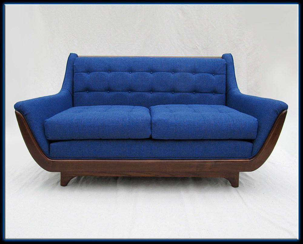 60s Mid Century Modern Pearsall Style Blue Sofa Loveseat