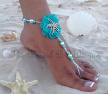 Turquoise Starfish Bridal Barefoot Sandals