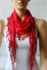 Red lace shawl scarf by oceanscarf on Etsy