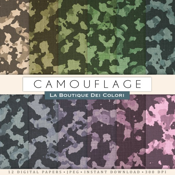 Camouflage Digital Paper With Patterned Camo