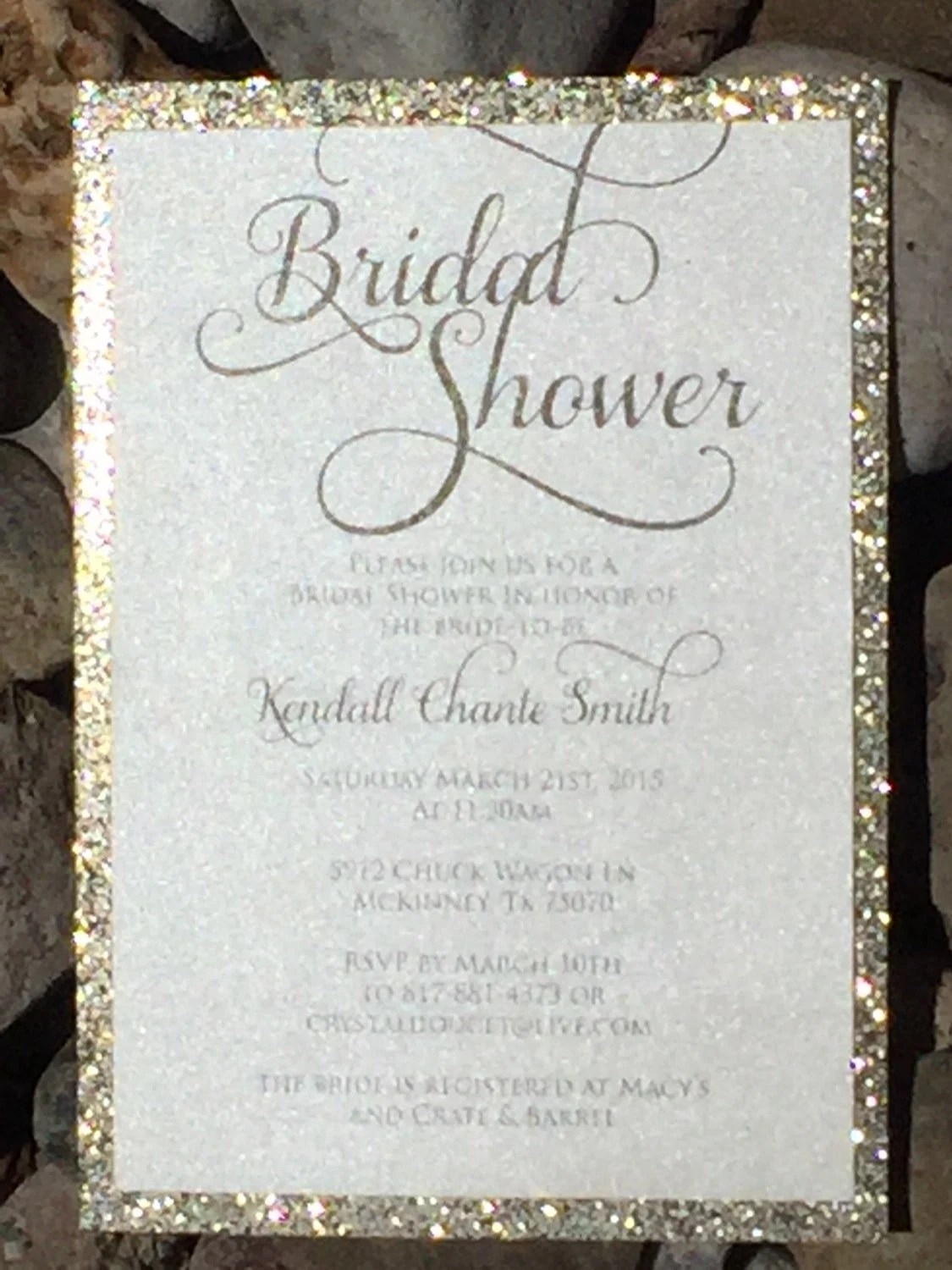 Bridal Shower Invitation Glitter Bridal Shower Invitations