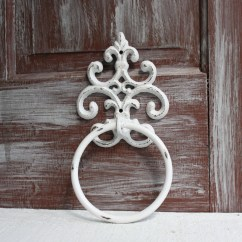 Kitchen Towel Hooks Decorative Tall Chairs Ring White Distressed Holder Bathroom Decor
