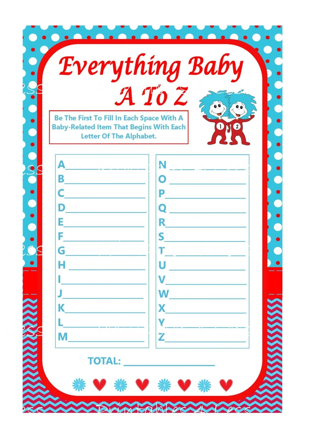 Seuss Baby Item Game Printable Alphabet Game Diy Alphabet