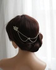 silver hair chain with drapes bridal