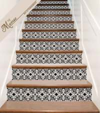 STAIR DECALS Ornate Vinyl Tile Decal Decor for Stair Riser