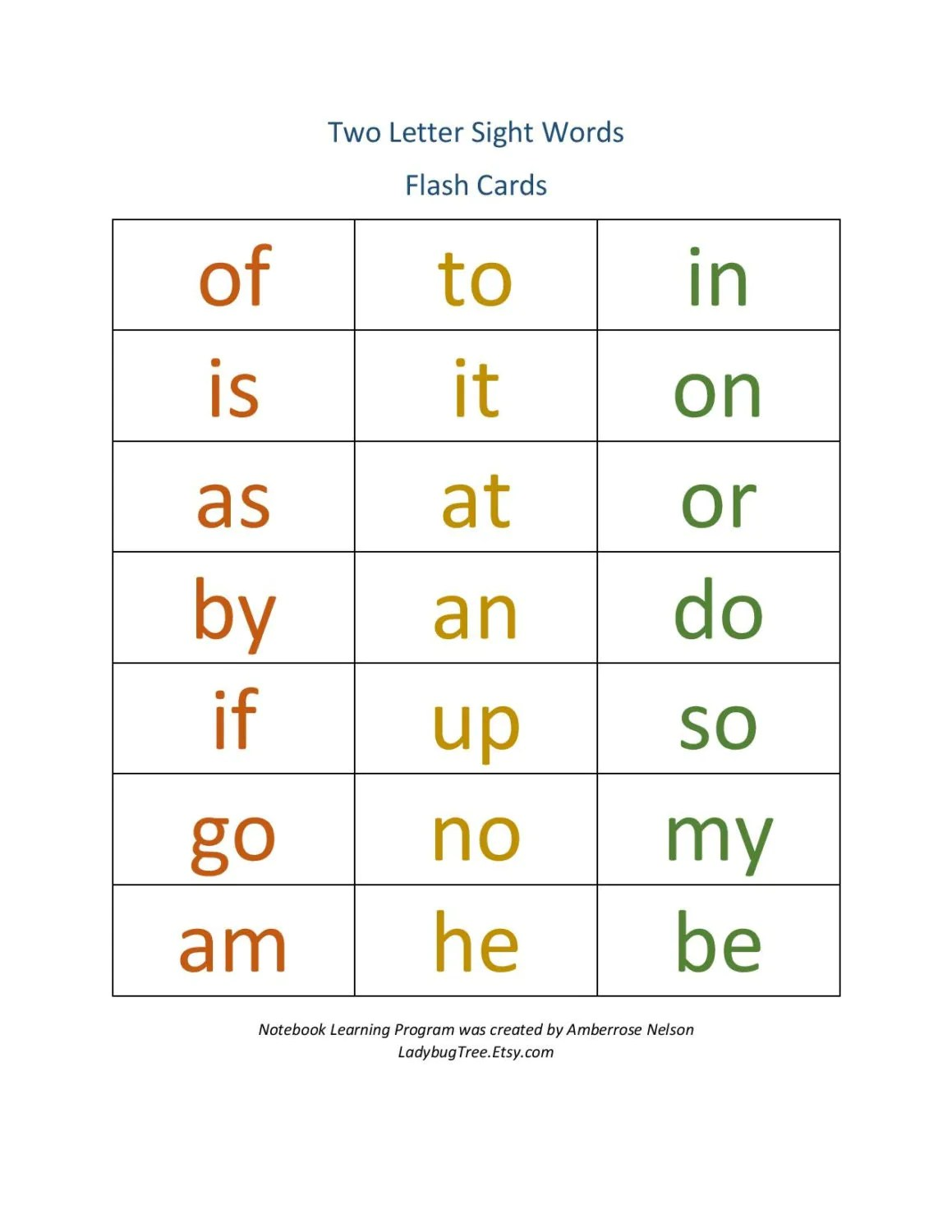 Two Letter Sight Word Workbook Worksheets For Learning To