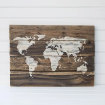 World Map Rustic Wooden Sign Reclaimed Pallet Wood