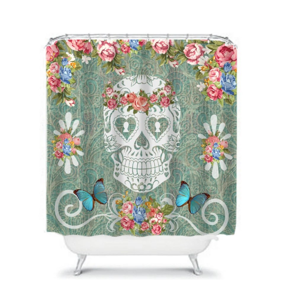 Items similar to Sugar Skull Shower Curtain Teal Victorian Pink Roses on Etsy