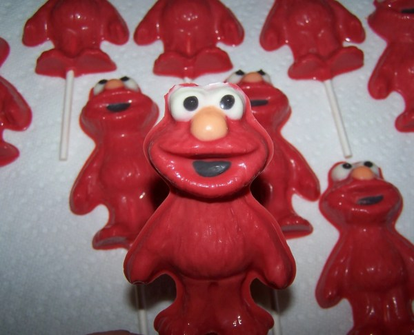 Elmo Full Body Chocolate Lollipop Favors.with Favor Tags